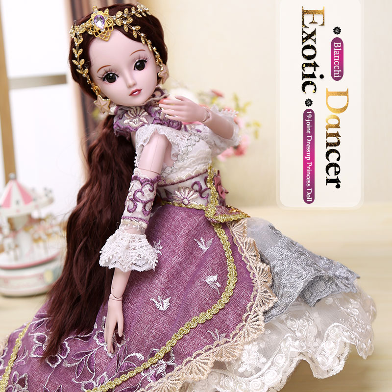 BARBIE 1/3 BJD Doll Princess Dolls 19 Joint Body Party Dress Eyes Wig Makeup Dressup With Outfit Dress Blyth Toys for Children