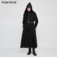 Punk Rave Black Dark Gothic Hooded Fake Two Piece Fashion Men's Long Coat Jacket Steampunk Hallowmas Y780M