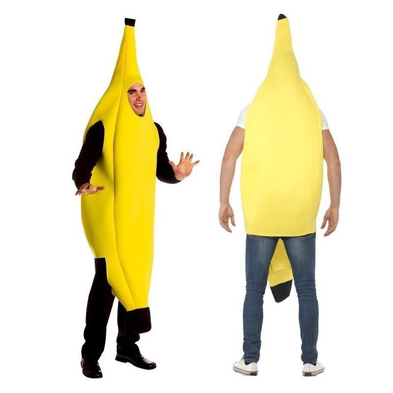 Adult Unisex Funny Banana Suit Yellow Costume Light Halloween Fruit Fancy Party Festival Dance Dress Costume