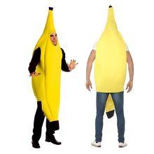 Traje de banana amarelo divertido, adulto, unissex, divertido, fantasia, halloween, frutas, festa, vestido de dança
