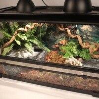 Набор резервуаров для рептилий с крышкой из проволочной сетки Скрытая водная пластина гигрометр коры подложка вивариум для геккон змея чер...
