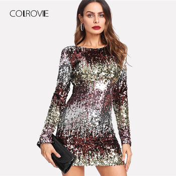 COLROVIE Iridescent Sequin Dress 2018 Round Neck Long Sleeve Sexy Party Dress With Zipper Women Sheath Autumn Short Dress Платье