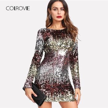 COLROVIE Iridescent Sequin Dress Round Neck Long Sleeve Sexy Party Dress With Zipper Women Sheath Autumn Short Dress