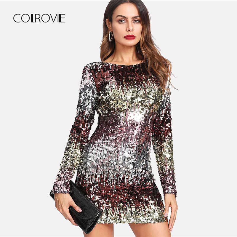 COLROVIE Iridescent Sequin Dress Round Neck Long Sleeve Sexy Party Dress  With Zipper Women Clothing Sheath e85275e1f4db