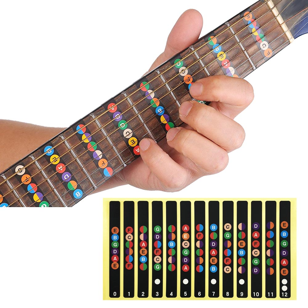 SLOZZ Guitar Sticker Acoustic Electric Fingerboard Notes Map 6 String Labels Accessories For Guitarra Learning