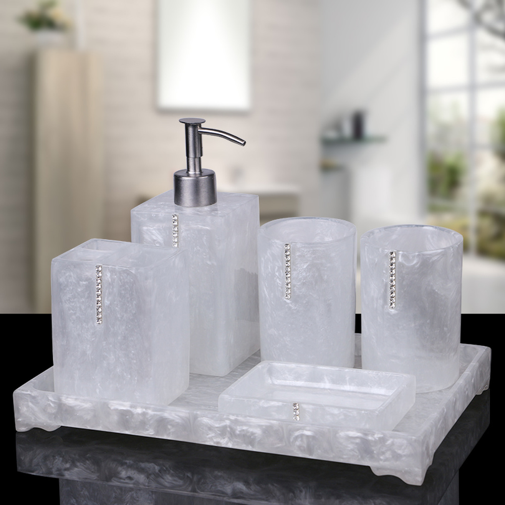 European-style bathroom five-piece bathroom toiletries kit Resin mug toothbrush holder set LO724206 new modern washroom toothbrush holder luxury european style tumbler