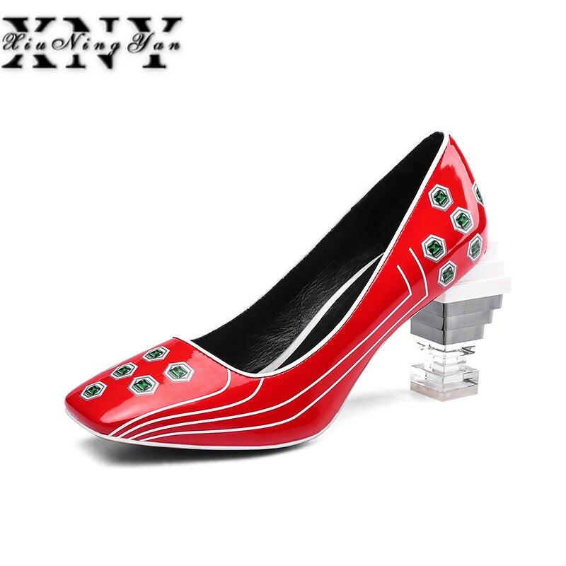 Negro Casuales Europea Alto Dama Mujer Superestrellas azul Oficina Cuero Vestido Slip Tamaño De Tacón On Bombas Natural rojo Plus Zapatos tZaxqT0ww