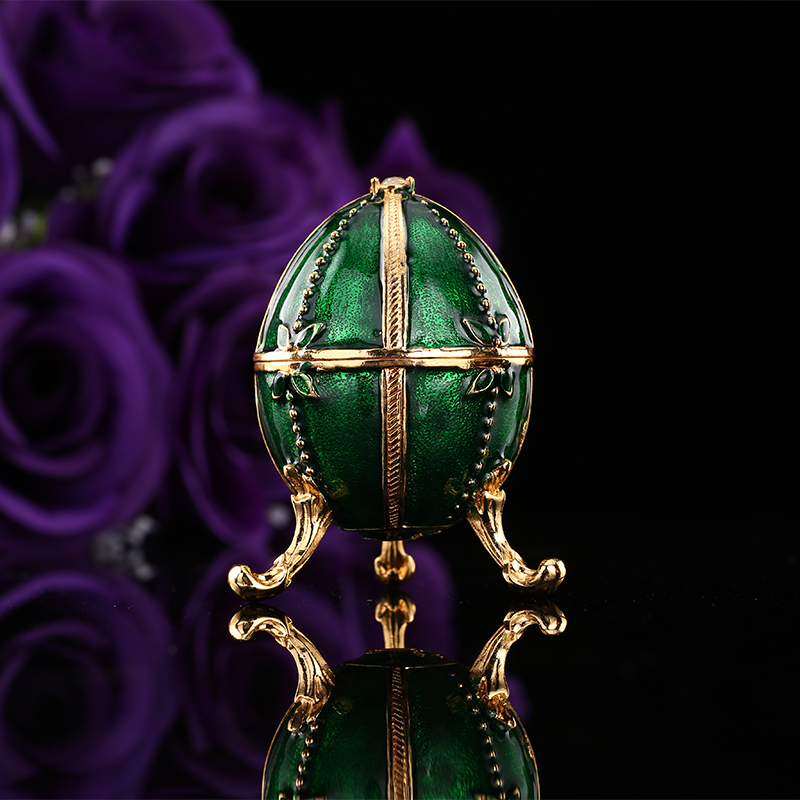 QIFU Royal Green Russian Faberge Egg With Rhinestones For Souvenir