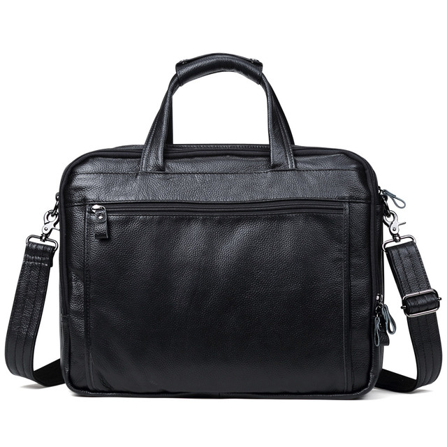 Fashion Genuine Leather Men A4 Office Bag Handbag Business Casual Men's Travel Bag 17″ Laptop Shoulder Bags Tote Briefcase