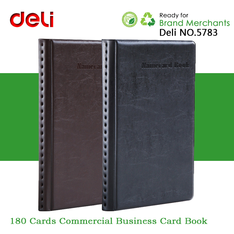 Deli NO.8463 Leather Surface Commercial Business Card Book Pouch ...
