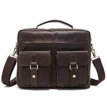 b2a90cbf027f4 Hakiki erkek omuzdan askili çanta Evrak Çantası Iş 14 Inç laptop çantası  için Erkek Çılgın At Deri El Yapımı Messenger Seyahat E..