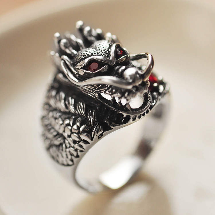 925 Sterling Silver Retro China Dragon Head Garnet Ring Men Thai Silver Fine Jewelry Gift Finger Ring CH023021