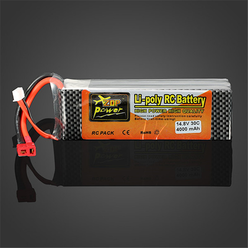 High Quality Rechargeable ZOP Power 4S 14.8V 4000MAH 30C Lipo Battery T Plug For RC Toys Models high quality zop power 14 8v 2200mah 4s 45c lipo battery t plug rechargeable lipo battery for rc helicopter part