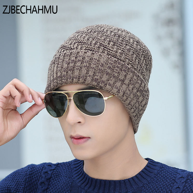 2017 NEW Casual Brand Men Winter Hat Beanie Hats Fur Warm Baggy Knitted Skullies Bonnet Ski Sports Adult Cap New Arrival Beanies 2017 top fashion promotion adult winter caps bonnet femme warm ski knitted crochet baggy beanie hat skullies cap hiphop hats