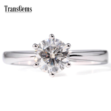 TransGems 1 Carat Lab Grown Moissanite Diamond Solitaire 6 Prongs Wedding Engagement Ring Solid 14K White Gold Band for Women недорого