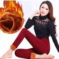 Mulheres inverno Mais grossa de veludo leggings desgaste exterior tamanho grande calças lápis de cintura Alta elasticidade calças quentes do sexo feminino S2822