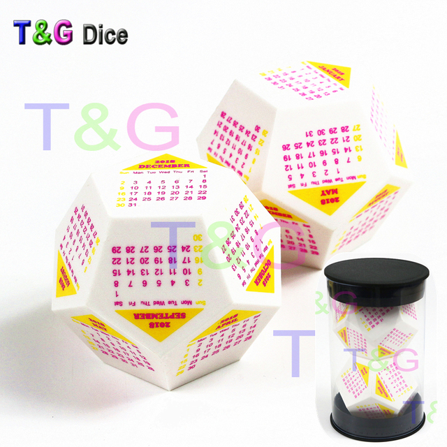 US $10 39 20% OFF|T&G Pop New Portable Calendar Dice! 2pcs of Big D12 Dice  with Colorful Printed Solar Calendar,12 Moths,As Christmas Gift-in Board