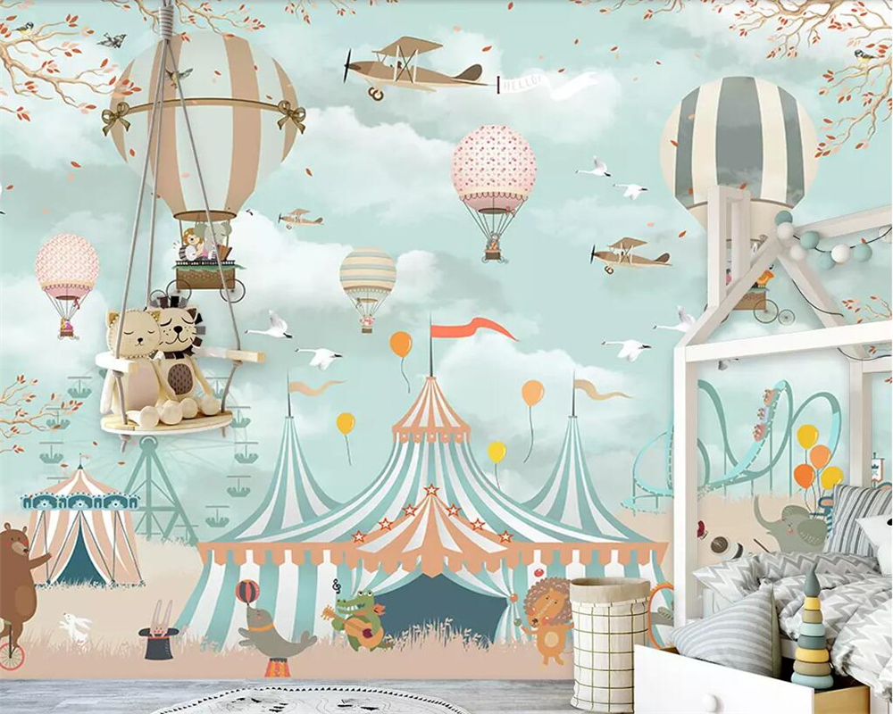 Beibehang Large 3d Wallpaper Cartoon Hot Air Balloon Airplane Animal Puppy Circus Playground Background Wall 3d Wallpaper Mural