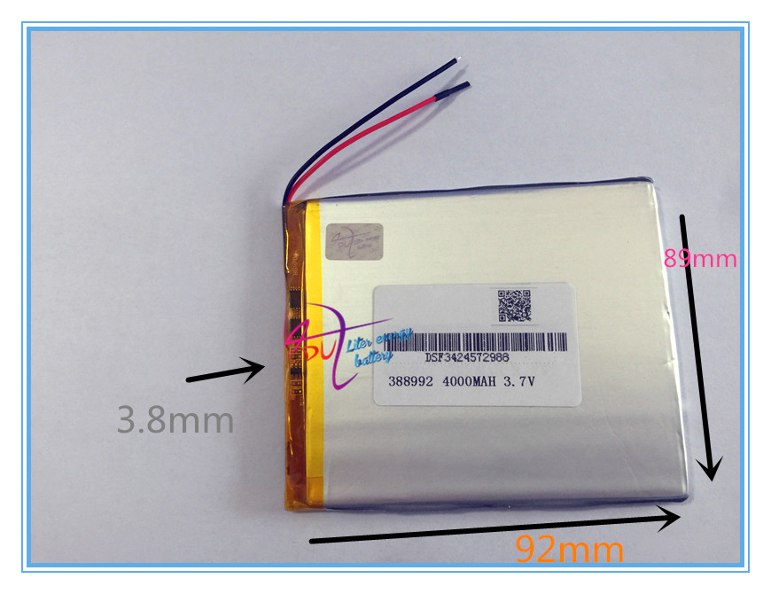 Wholesale 10 pcs 3.7V 4000mah 388992 Lithium Polymer Li-Po Rechargeable battery For DIY GPS PSP Power bank Tablet PC MID DVD PAD ваза sima land серебряная роза высота 18 см