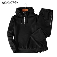 NEWDISCVRY Men's Tracksuit 2018 Fashion Men Two Piece Sets Man Pullover Hoodies+ Pants Sportwear Suit Male Hoodies Plus Size 5XL
