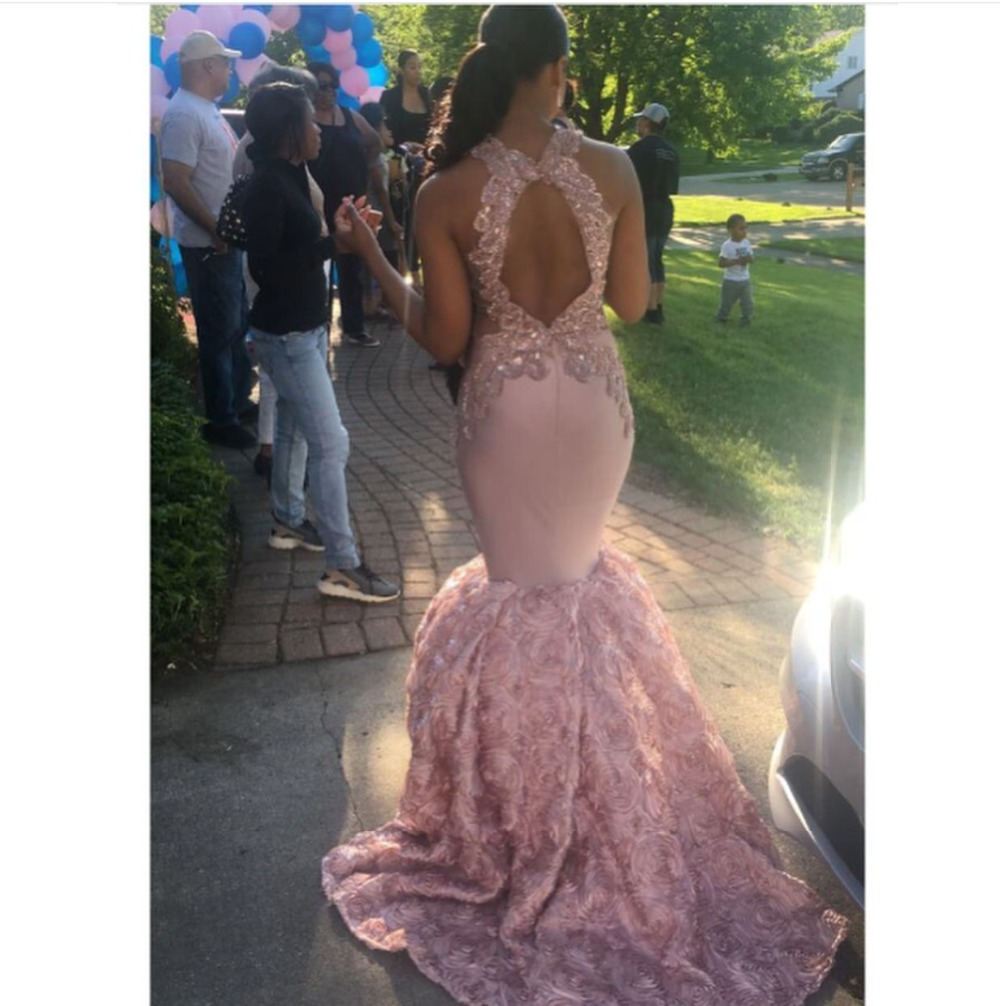 Image 2 - Sexy Black Girls Mermaid High Neck Dusty Pink Prom Dresses 2019 Cut out Top Beaded Sequined Long Formal Evening Party Gowns-in Prom Dresses from Weddings & Events