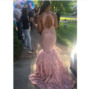 Image 2 - Sexy Black Girls Mermaid High Neck Dusty Pink Prom Dresses 2020 Cut out Top Beaded Sequined Long Formal Evening Party Gowns