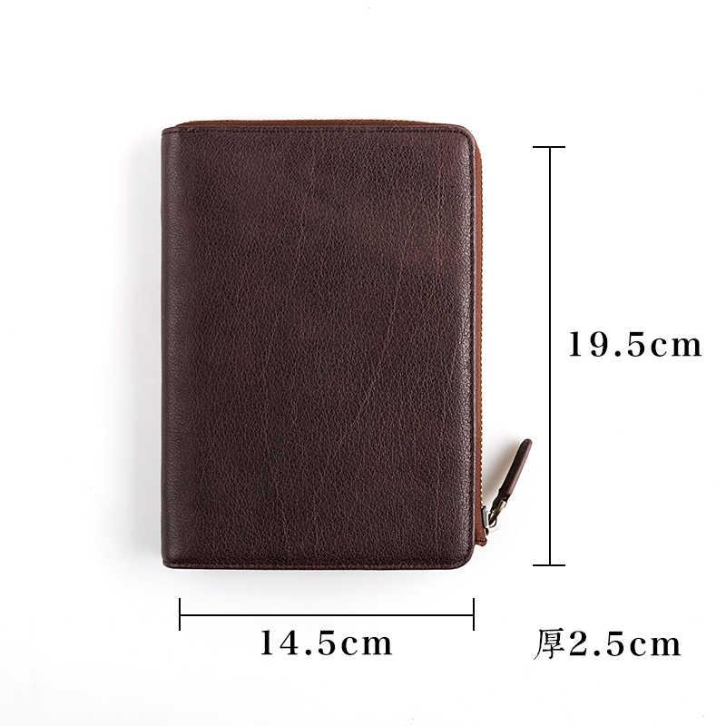 Genuíno Couro de Couro Multifuncional Unisex Homens de Negócios Designer de Viagem Caderno Em Branco Do Vintage Diário Jornal Livro A6 Notepad