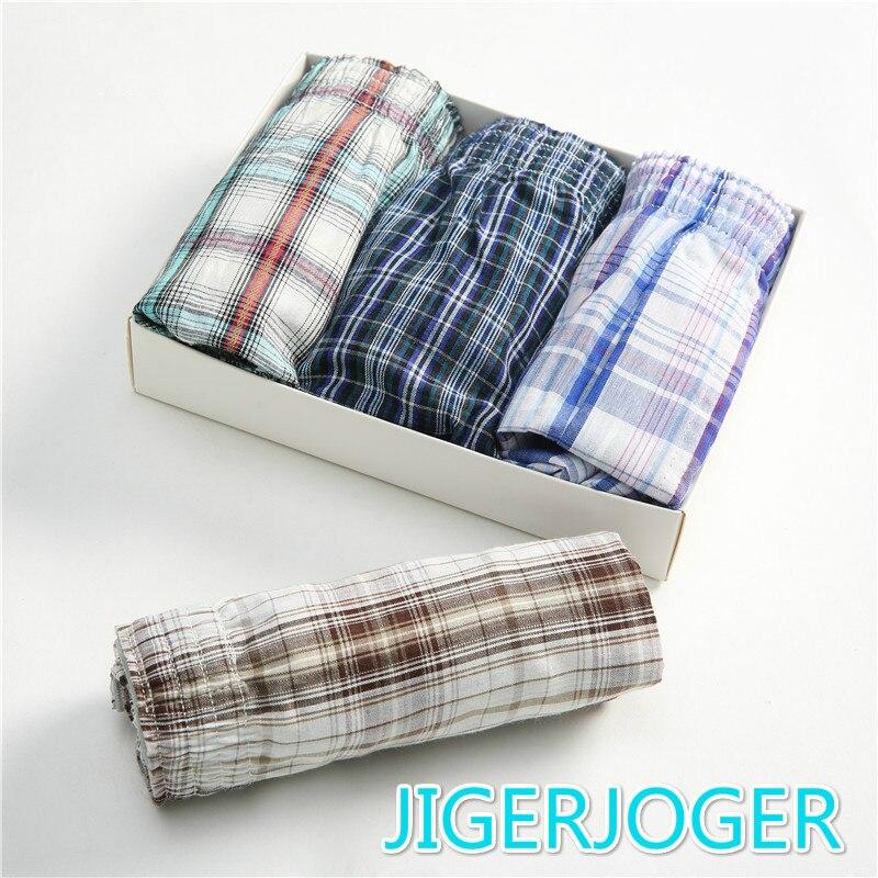 Men Underwear Shorts Briefs Men's Boxer Classic Cotton 4PCS Plaid Waistband Elastic Loose