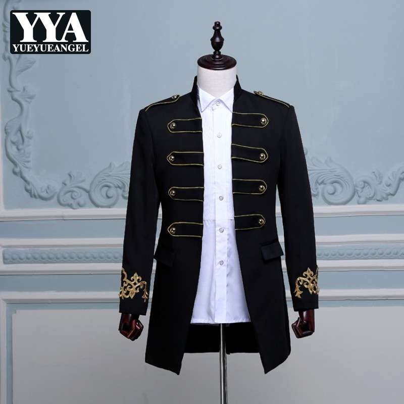 Angleterre Style Hommes Blazer Élégant Double Breasted Long Slim Fit Blazer Mâle Conception De Noce Costume Veste Plus La Taille M-2XL