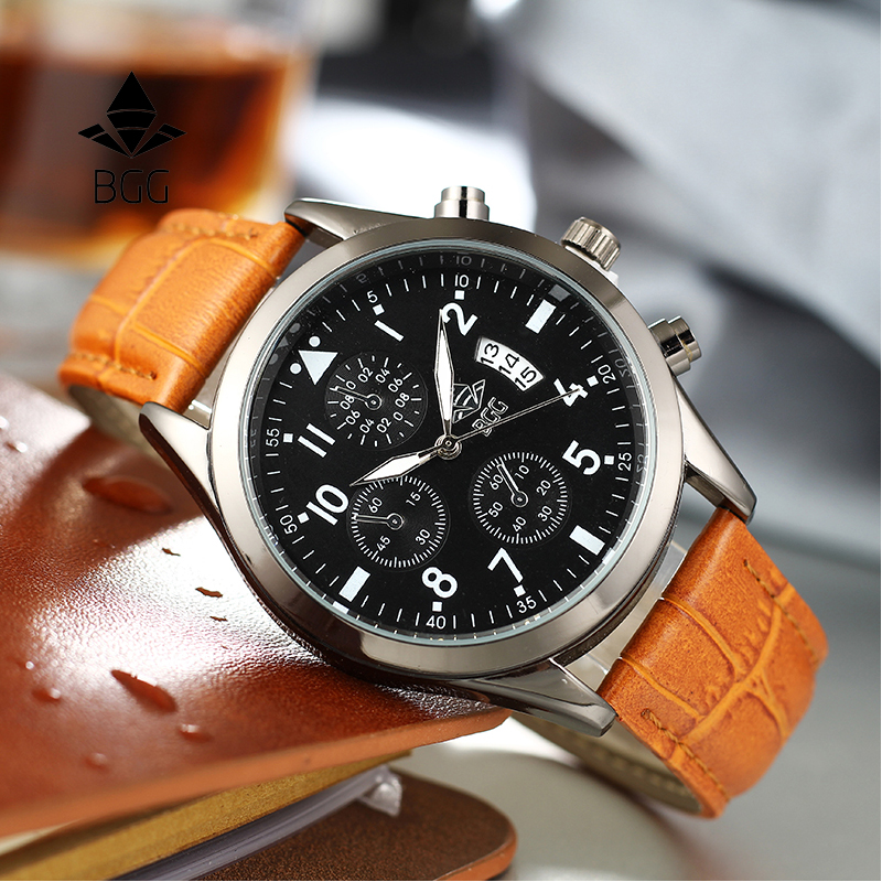 все цены на BGG Luxury Top Brand Fashion Casual Leather Quartz Wristwatch Analog Sport Watch Men Military Clock Man Relogio Masculino онлайн
