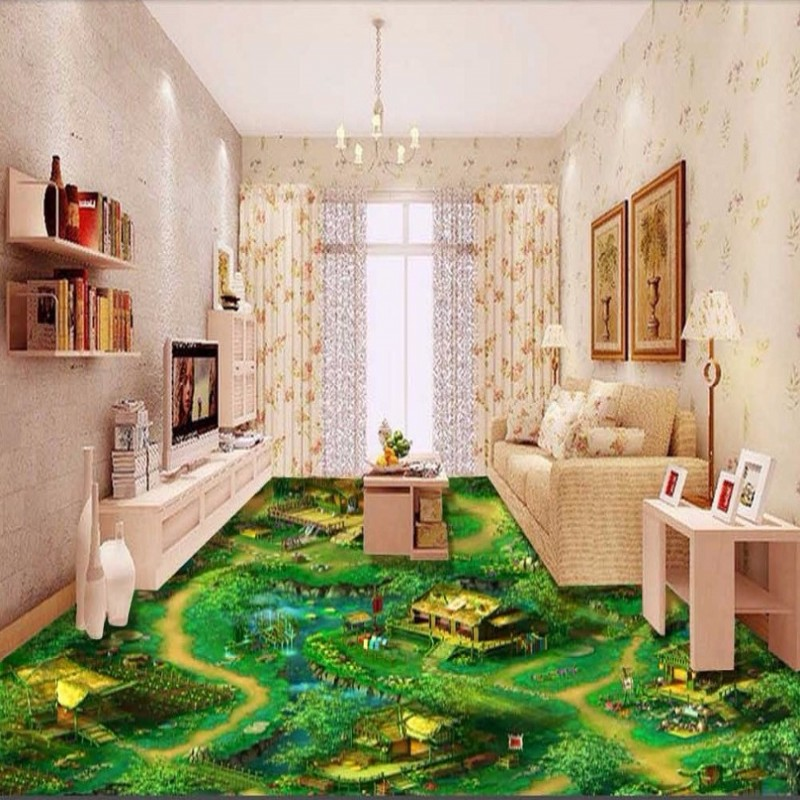 Free Shipping 3D Game Gallery floor paste painting bedroom children room wallpaper waterproof floor mural toilet time floor golf game set