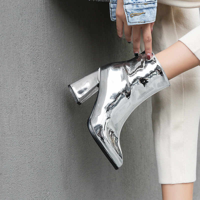 YMECHIC 2018 Fashion Mirror PU Patent Leather Ankle Women Boots Pointed Toe Gold Silver Party Booties Ladies Shoes Plus Size
