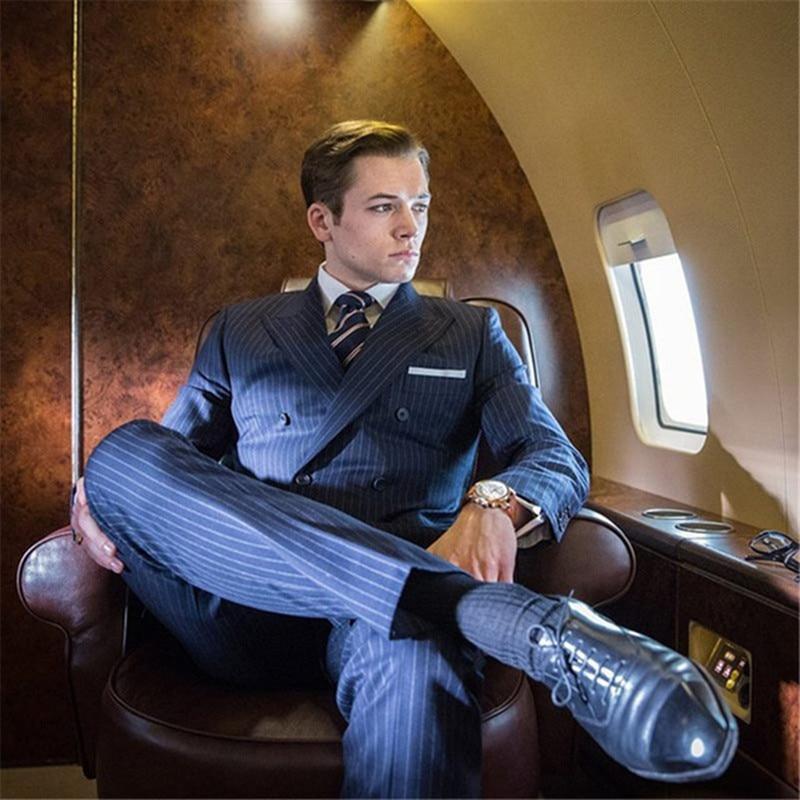 Buy Classic Stripe Suits Men Business Suit Costume Homme Kingsman Costume Homme