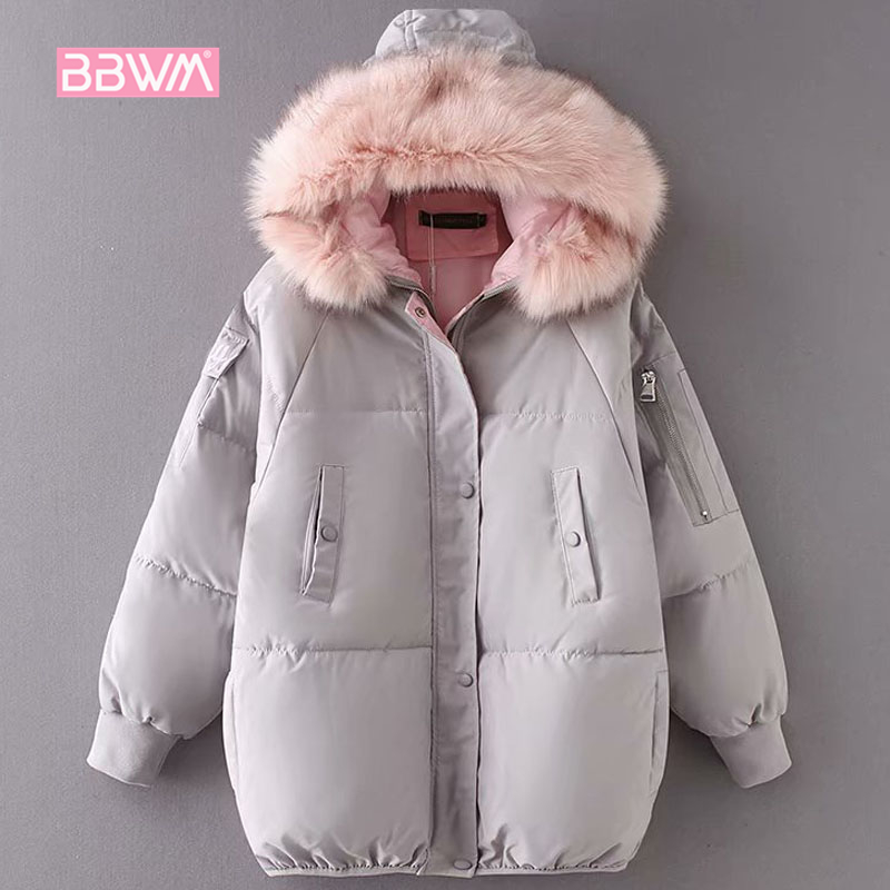 Korean women s 2018 winter warm hooded fur collar cotton coat bread long sleeve army green