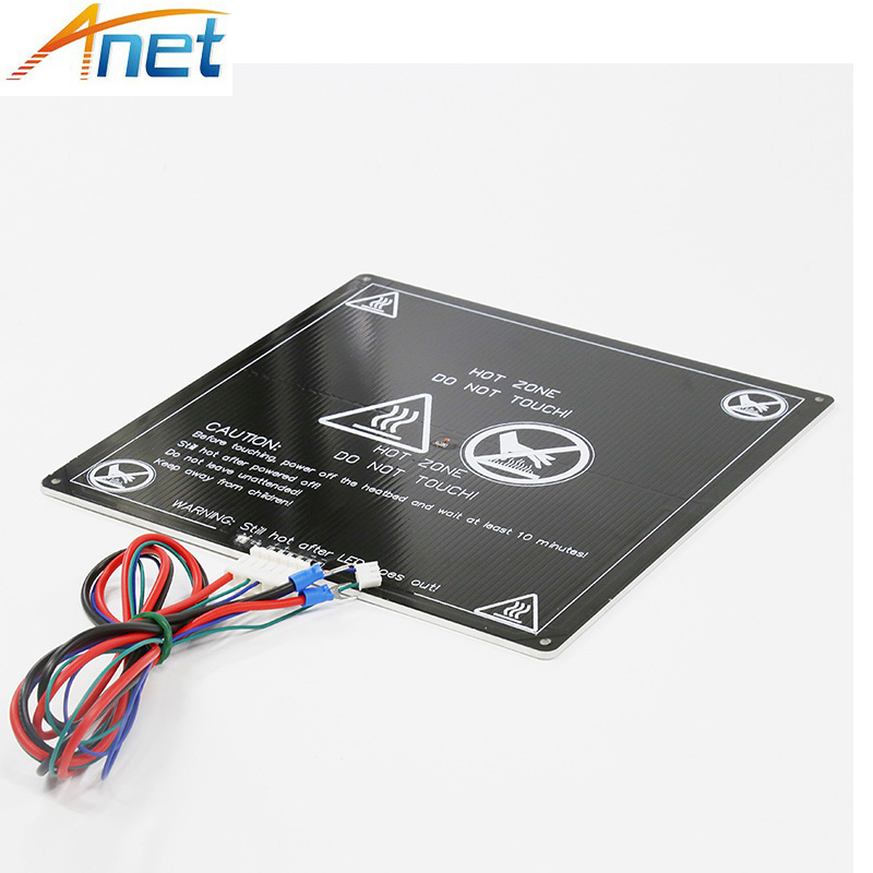 Anet A6 A8 MK3 12V Heatbed Aluminum Heated Bed 220mm*220mm*3mm MK2B & MK2A for Mendel RepRap i3 3D Printer Hotbed with Cable dc24v cooling extruder 5015 air blower 40 10fan for anet a6 a8 circuit board heat reprap mendel prusa i3 3d printer parts