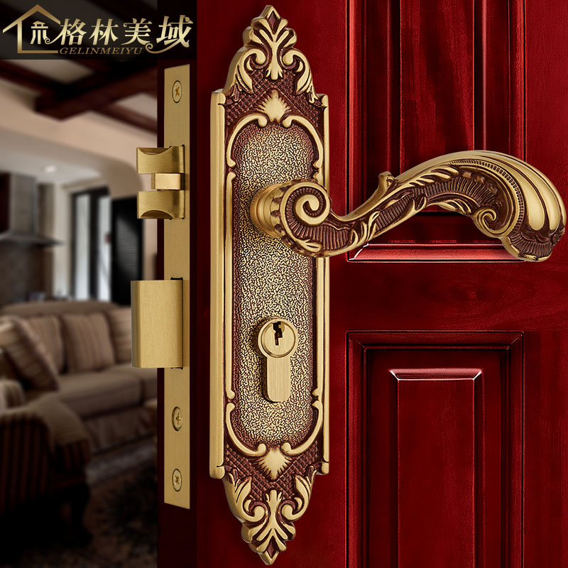 European copper door lock full copper room interior bedroom solid wood door lock American villa door lock oki 44059169