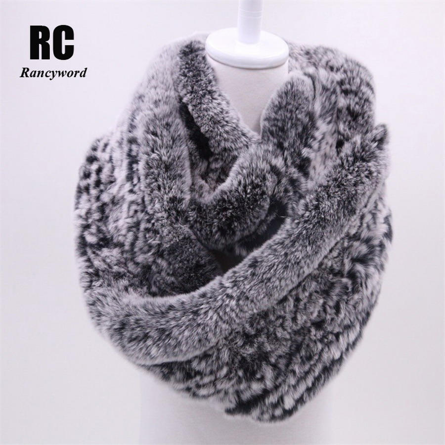 [Rancyword] Winter Fur scarf for women knitted natural Rex Rabbit Fur scarves 2017 new genuine fur ring Female Warm Shawl RC1260
