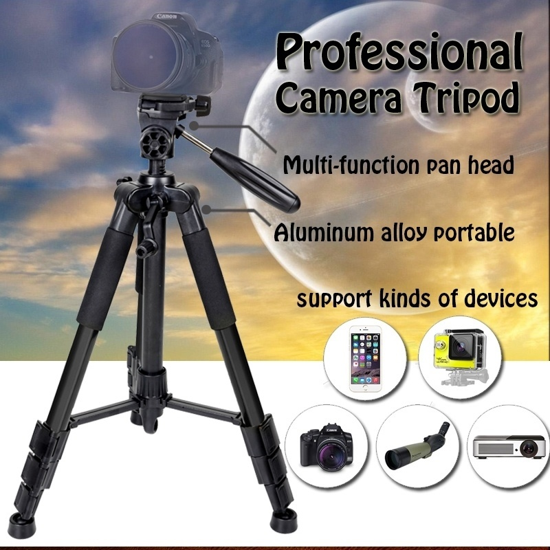 55inch Q111 Camera Tripod Professional Pan Head Portable Travel Aluminum Tripode for Phone Canon DSLR Camera Stand Accessories