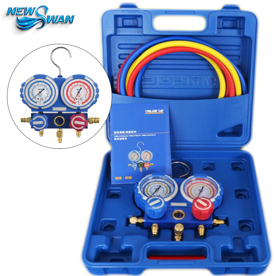 Refrigerant Manifold Pressure Gauge Refrigerants Scale Air Conditioner Refrigerator Freon Pressure Measuring Meter VMG-2-R410A-B