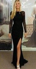 Vestido De Renda 2015 Sexy Boat-Neck Full Sleeve Backless Split Side Sweep Train 2016 Lace Mermaid Black Formal Gown Party Dress