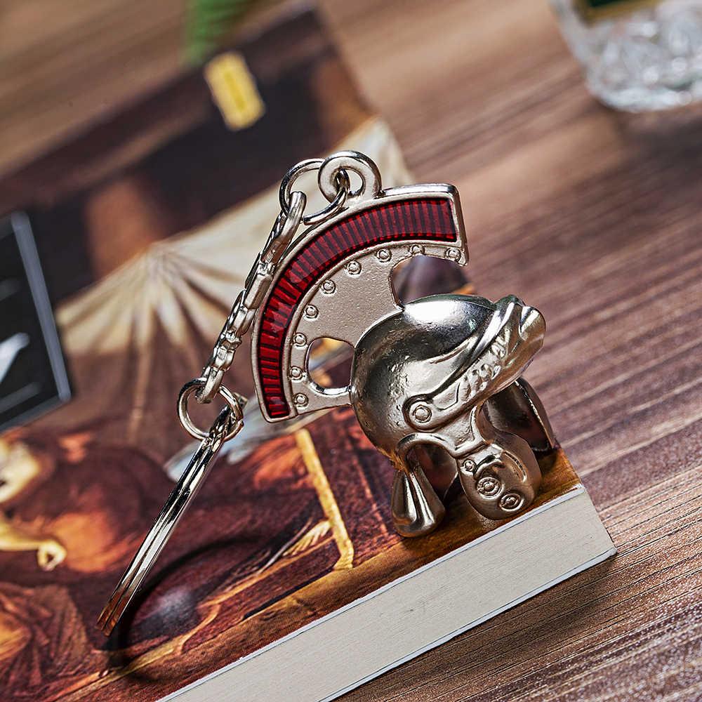 Italia Vicney Mais Novo Do Vintage Roman Cavaleiro Capacete Chaveiro Retro Roman Capacete Capacete de Centurião Romano do Anel Chave da corrente Chave Como UM presente