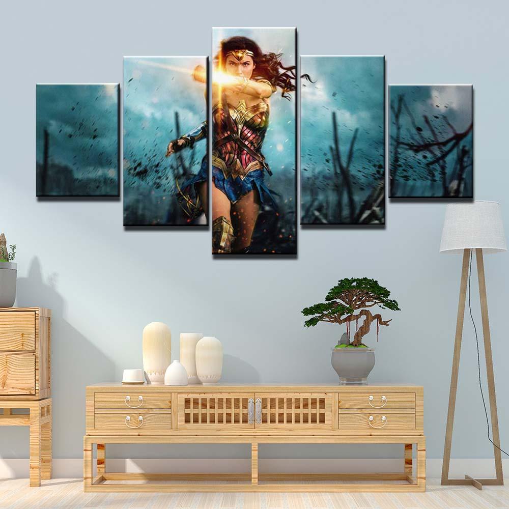 5 Panel Framed Wonder Woman in Battle Modern Décor Canvas Wall Art HD Print