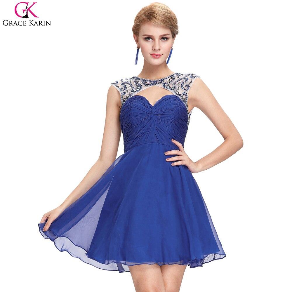 Grace karin vestidos cortos azul sexy backless vestidos de cóctel a line cuello