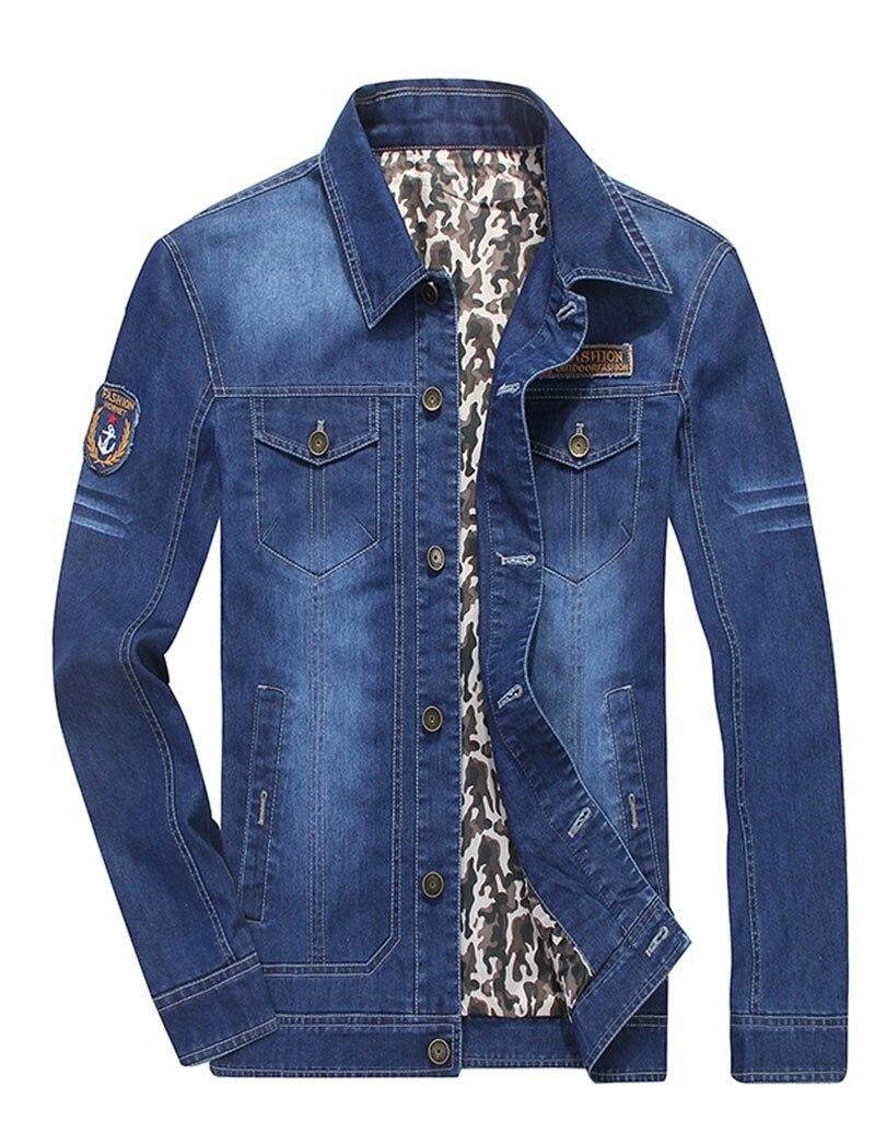 278586240c M ~ 4XL 2017 nueva primavera otoño marca DENIM chaqueta hombres ropa Slim  Fit Business Casual bolsillo algodón Casual abrigos chaquetas de los hombres