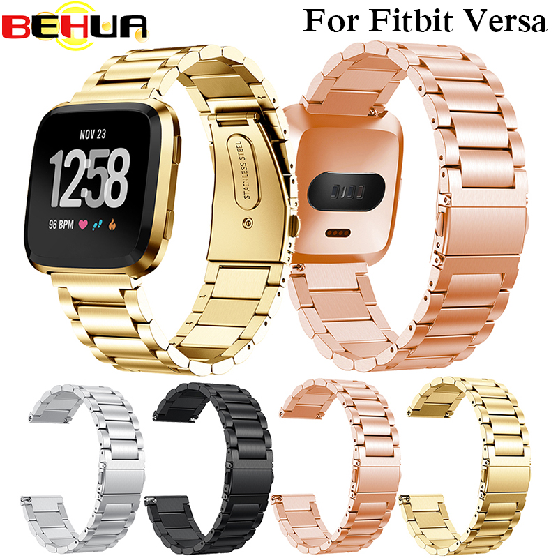 Metal Watch Strap For Fitbit Versa Band Strap Screwless Stainless Steel Bracelet For Fitbit Versa Wristbands Replace Accessories