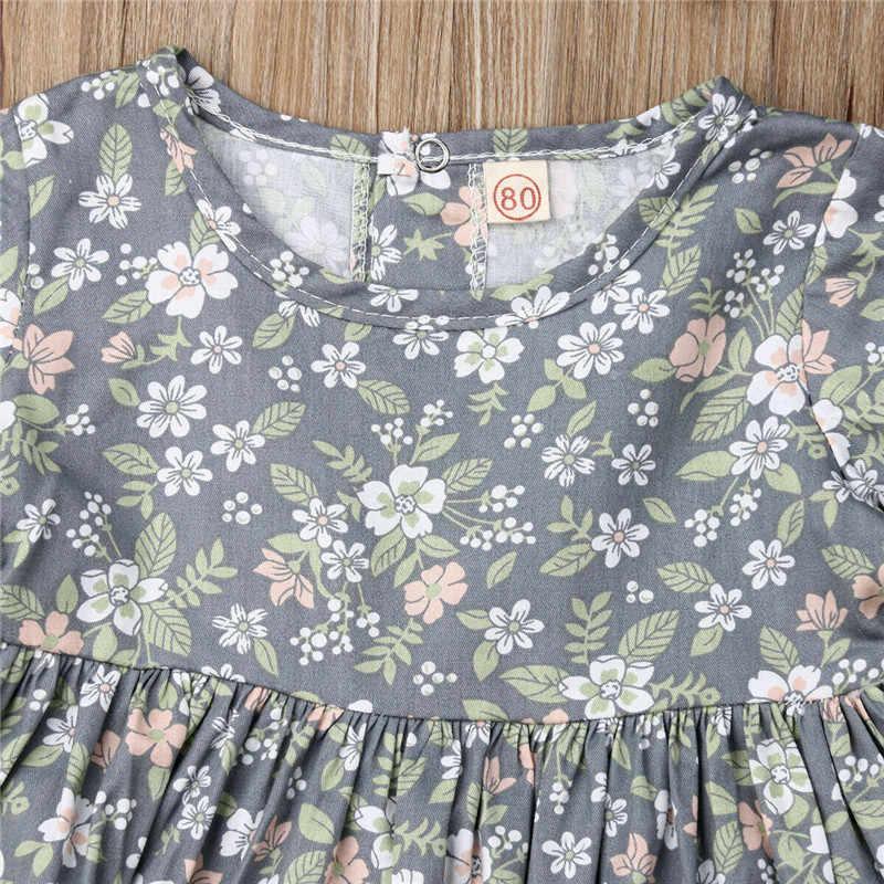 Милые комплекты хлопковой одежды для маленьких девочек топы с цветочным принтом и расклешенными рукавами, платье шорты с оборками повязка на голову с бантом, комплект из 3 предметов для маленьких девочек, От 1 до 4 лет
