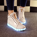 Lady tenis Led Simulation Luminous Basket Glow bambas High Top Trainer Neon Tall Shoe with Light up for Adult Feminino con