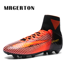 Men Football Soccer Boots With Ankle Turf Soccer Shoe Leather High Top Soccer Cleats Training Football MR22020