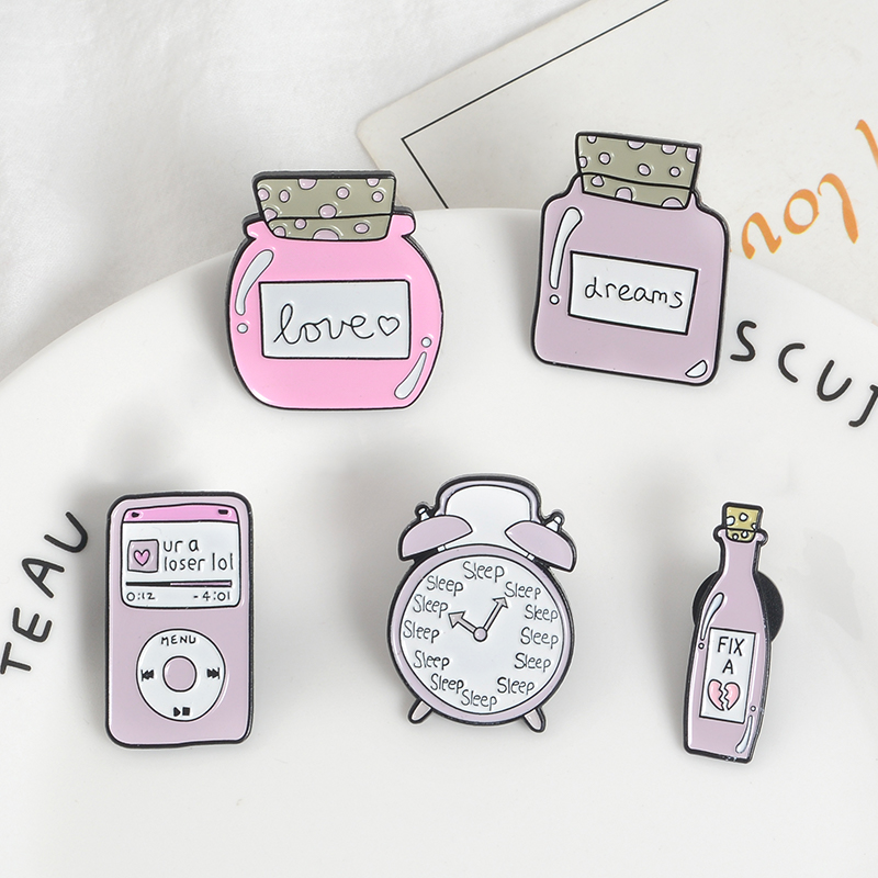 Jewelry Sets & More Pink Cartoon Cute Denim Lapel Enamel Pins Wishing Bottle Alarm Clock Badges Brooch Music Fashion Gift Jewelry For Women Children Exquisite Traditional Embroidery Art