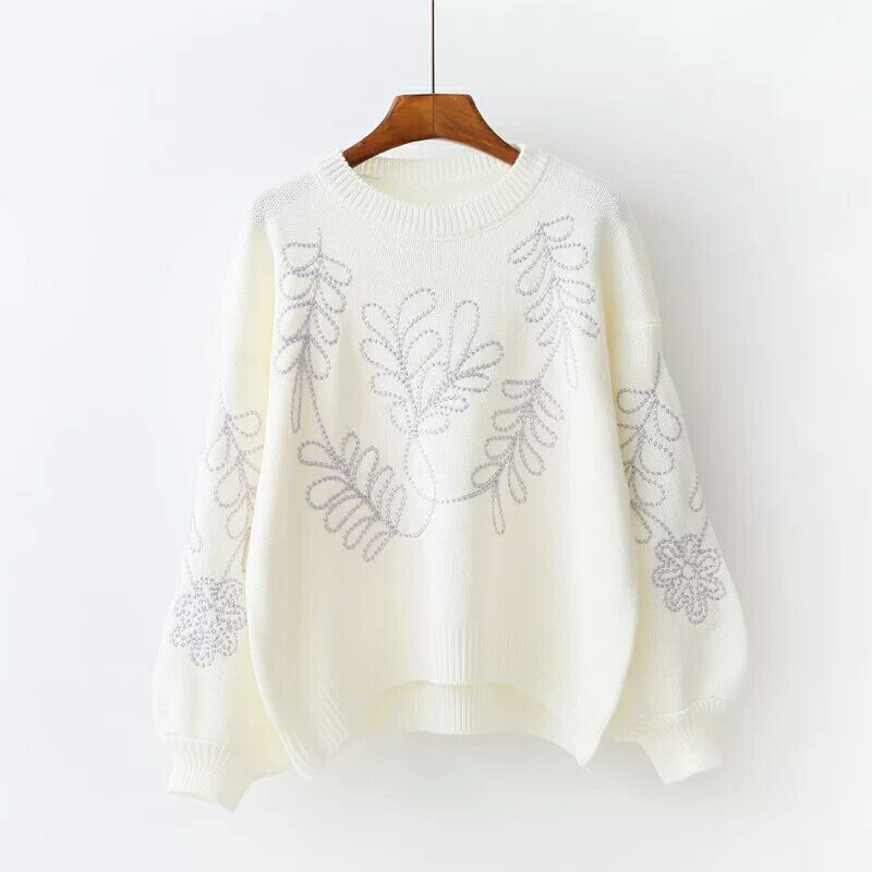 MUMUZI short front long back Fashion Embroidered Jumper Black Long Sleeve Casual Boho Pullovers 2017 Autumn Ladies Sweaters